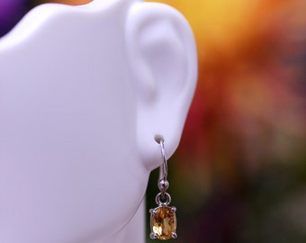 Sterling Silver Oval Faceted Natural Citrine Dangling Earrings