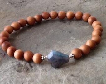 Labradorite with 6mm Sandalwood Stack Bracelet