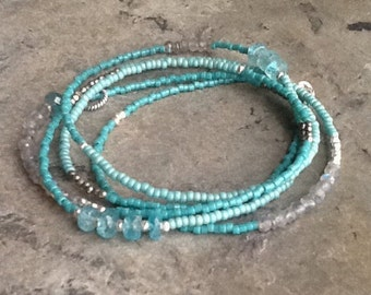 Apatite and Labradorite Long Beaded Necklace or Wrap Bracelet