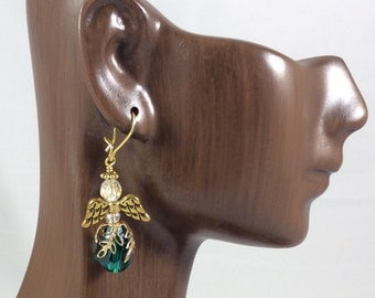 Emerald Green Crystal Angel Earrings, Gold Angel Earrings,  Christian Earrings, Christian Gift, Guardian Angel Earrings, Christian Jewelry