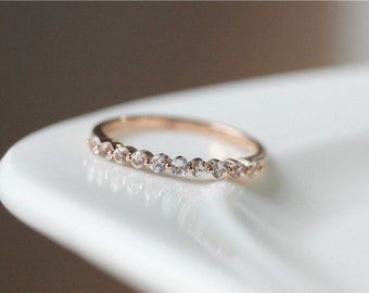 Unique Wedding Ring/White Sapphire Wedding Band 14K Rose Gold White Sapphire Wedding Ring/Match Band/Anniversary Ring/Anniversary Gift