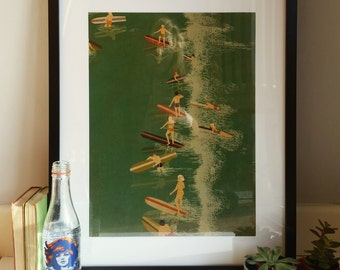 Surfing 1960s Illustration Poster A3