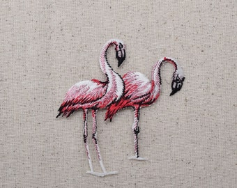 Two Pink Flamingo - Shimmery - Embroidered Patch - Iron on Applique - 692723B