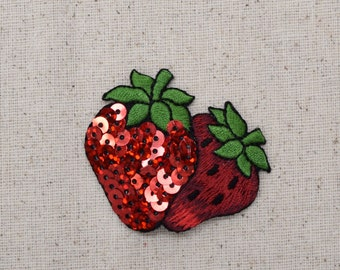 Double Strawberry - Two Strawberries - Sequin - Fruit - Food - Embroidered Patch -  Iron on Applique  - 1111292