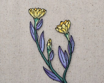 Yellow Flowers - with Purple Foliage Leaves -  Iron on Applique - Embroidered Patch - 896286A