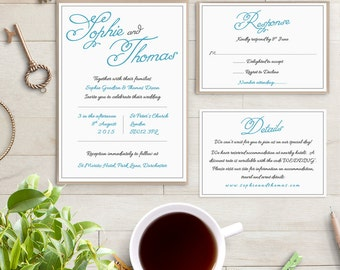 Printable Wedding Invitation Set Blue Invitation, Sophie, RSVP Info Template | Editable Word Template