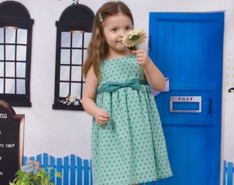 "Baby summer dress in jade cotton printed ""stars"""