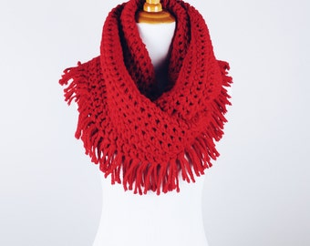 SALE | The Felicia Fringe Infinity Scarf in Berry Red | Chunky Scarf with Tasseled Edge