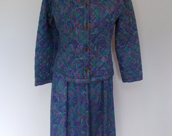 Vintage womens skirt suit 80s quilted paisley print jacket skirt suit size Medium