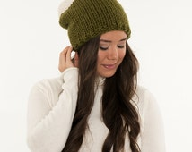Knit Slouchy Two-Tone Toque Hat, Chunky Wool Knitted Slouch Beanie, Crocheted Handmade Winter Accessory / Cilantro & Fisherman