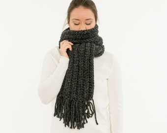 Chunky Knit Scarf, Wool Ribbed Open End Fringe Scarf, Cowl, Textured Cozy Neck Warmer, Women's Warm Winter Accessory, Handmade