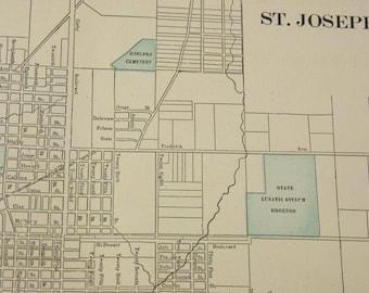 1901 St. Joseph & Council Bluffs Missouri Antique Maps (Double-sided Page)