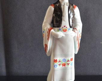 Vintage Hollohaza Hungary Porcelain Figurine Man in Hat Vest Boots