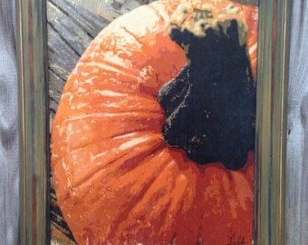 Pumpkin limited edition wood print with earthy green and brown frame
