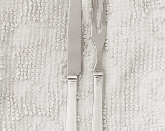 Vintage silver carving set, antique silverplate meat carving fork and knife