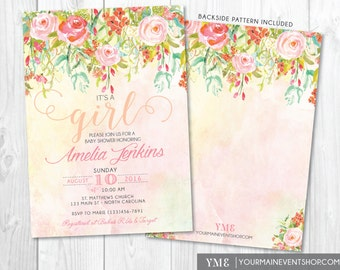 Girl Baby Shower Invitation • Spring Summer Watercolor Flower Baby Shower Invite • It's a Girl Whimsical Floral Printable