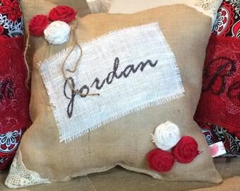 Handmade Burlap Decorative Name Pillow