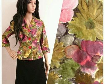 Vintage 50's Laeta Ramage Painted Daisy Floral Cotton Jacket Cardi Top / UK 10 / EU 38 / US 6