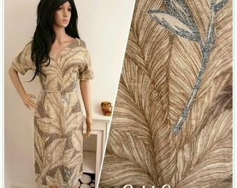 Vintage 1950s 60s Brown Palm Leaf Shift Linen Dress 50s / UK 8 10 / EU 36 38 / US 4 6