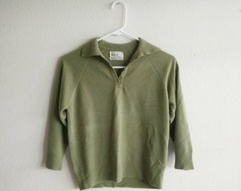 Vintage 1960s Green Pullover Sweater/60s Sweater/Small