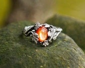 "Sterling Silver Sunstone Ring ""Daisy"" MADE TO ORDER, sunstone engagement ring,delicate ring,flower ring, antique ring"