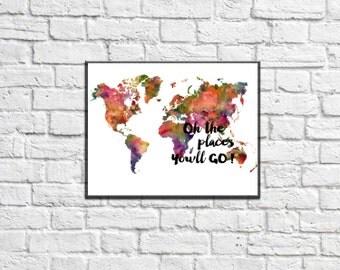 Nursery wall Art World Map Printable Kids room decor Map Art Nursery Decor Places you'll Go Print Places You'll go 11x14 Nursery Printable