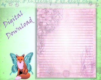 Easter Bunny Page, Easter Rabbit Page, Easter Page, Ostara Page, Easter Stationery, Ostara Stationery, Ostara Hare, Easter Hare, Easter Lily