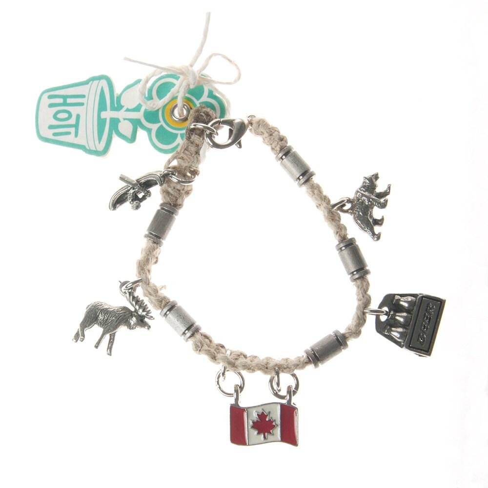 Oh Canada Natural Hemp Metal Beads Hoti Handmade Charm Bracelet Moose Flag  Beer Bear Canoe Lobster Clasp Ladies Beaded Hand Crafted Clasp It