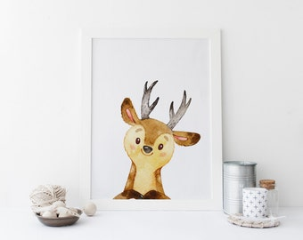PRINTABLE Art Dear Woodland Dear Art Print Woodland Animal Home Decor Nursery Woodland Nursery Deer oh deer Nursery Decor Nursery Art Print