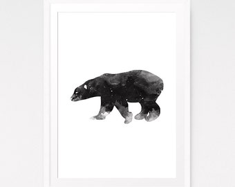Nursery animal print, Animal nature print, Polar bear print, Printable for nursery, Nordic art, Digital download, Kids print, Polar bear art