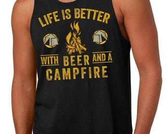 Camping Tank Top Funny Camping Campfire Wine Summer Tank Top