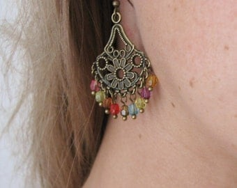 Ethnic Earrings - Chandelier Tribal Earrings - Gypsy Boho Jewelry - Beaded Bohemian Earrings - Fashion Costume Jewelry