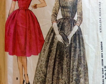 McCalls 5194 - 1950s Scoop Neck Party Dress with Bell Skirt in Below Knee or Maxi Length - Size 44 But 46