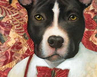 American Pit Bull Terrier, Pit Bull Art, Terrier, Dog Painting, Home Decor, Wall Hanging, 12x12 Painting