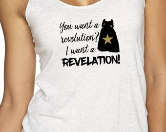 Revelation - Hamilton inspired womens racerback tank all sizes in white heather