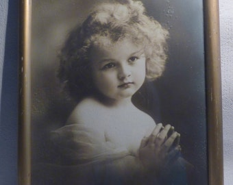 German vintage black and white portrait praying girl with curly hair - old wood frame