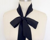 "Skinny Scarf. Silk 53""x2""Thin Black Scarf with Angled Ends. Black Silk Tie Sash. Silk Ascot. Headscarf. Ladies Bow Scarf. Narrow Scarf Tie."
