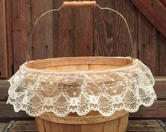 Rustic Apple Basket {Decor} | One (1) Vintage-inspired farmhouse basket; Up-cycled apple basket; Shabby chic storage; Cute gift basket
