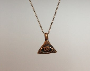 All-Seeing Eye Pendant Necklace in Bronze - MADE TO ORDER
