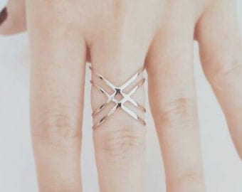 X Ring - Criss Cross Ring - Double X Ring - Double X Criss Cross Ring - Thin Criss Cross Ring - Ring - 18K Gold Plated - Christmas Gift