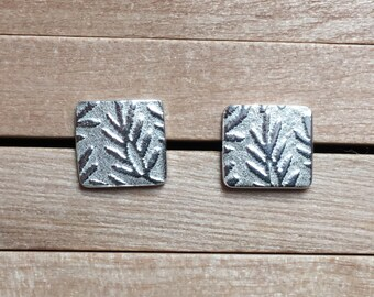 Silver Stud Earrings, Silver Leaf Earrings, Silver Earring Studs, Handmade in UK