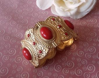 Chunky Vintage Red Cabochon and Gold Tone Bracelet Expandable Bracelet 1980s