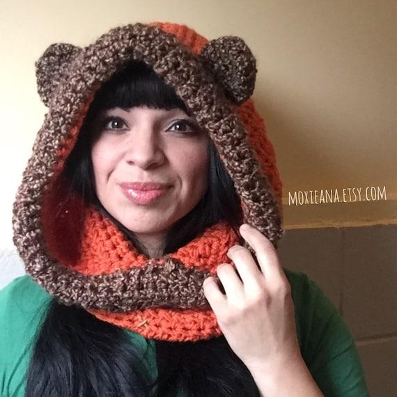 Ewok Hat: Chunky Ewok Hoodie Star Wars Inspired Crochet Hat Bear Cowl