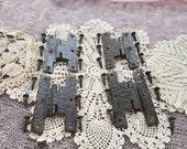 Set of Four (4) Black Hammered Iron Cabinet Door Hinges