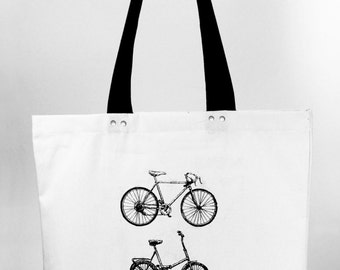 Bicycles - hand screen printed cotton canvas tote bag