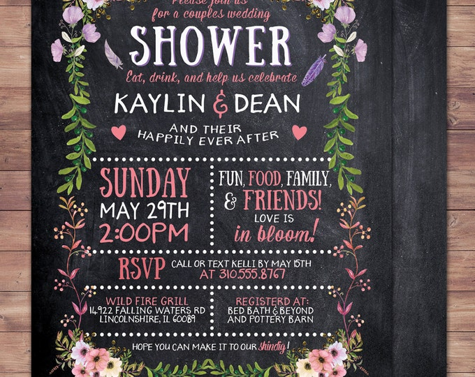 Happily ever after invitation, BOHO wedding shower Invitation, couples shower, arrows, Tribal, wedding, bridal shower invitation, floral