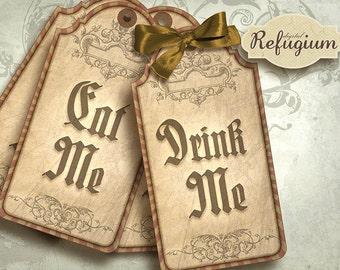 Alice in Wonderland  eat me drink me Tags, Digital Collage Sheet, Instant Download,printable images, Quotes