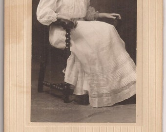 Lovely Cabinet Photo of a Young Woman, Large Cabinet Photo, Vintage Photograph, Black and White Photo, Anderson Kearney