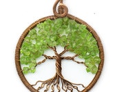 Tree-Of-Life Necklace Pendant Tree-Of-Life Jewelry Family Tree Copper Pendant Wire Tree Of Life Wire Wrapped Pendant Green chrysolite