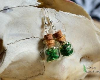 Dried moss glass cork bottle earrings